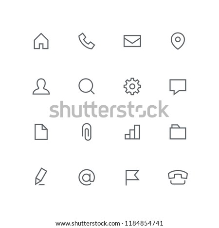 Main outline icon set - home, phone, envelope, address, man, magnifier, gear wheel, chat, file, paper clip, graph, folder, pen, email and flag symbol. Contacts, office and business vector signs.