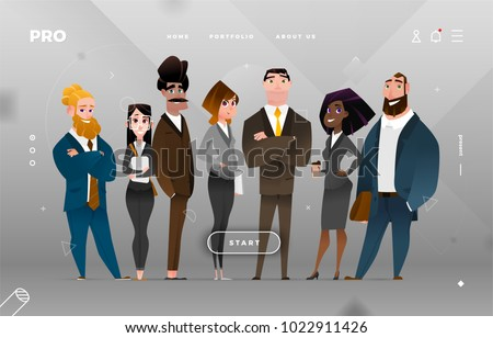 Main Page Business Design with Cartoon Character for Web Site