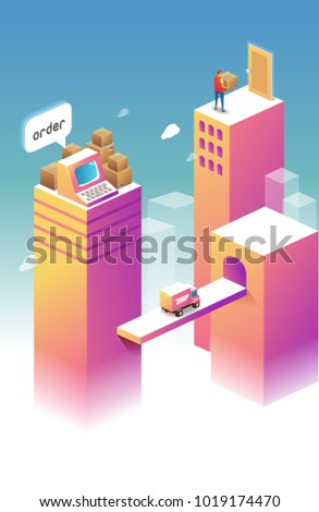 Main Page for Online Shopping theme. Isometric illustration
