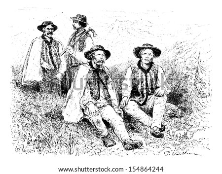 Main Physiognomic Types of the Podhales of the Tatra Mountains, Poland, drawing by G. Vuillier, from a photograph by Dr. Gustave le Bon, vintage illustration. Le Tour du Monde, Travel Journal, 1881 Photo stock ©
