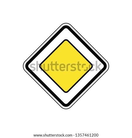 Main road sign vector illustration isolated on white. Sign of main road. eps10 #1357461200
