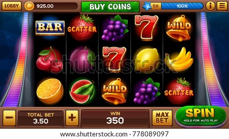 Main screen for slots game. Vector illustration