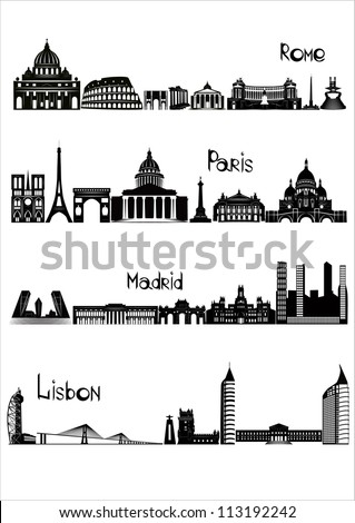 Main sights of four european capitals - Rome, Paris, Madrid and Lisbon, drawn in black and white style.