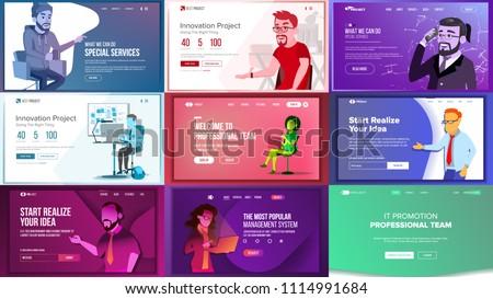 Main Web Page Set Design Vector. Website Business Concept. Landing Template. Working Team. Application Newspaper. Creative Idea. Illustration