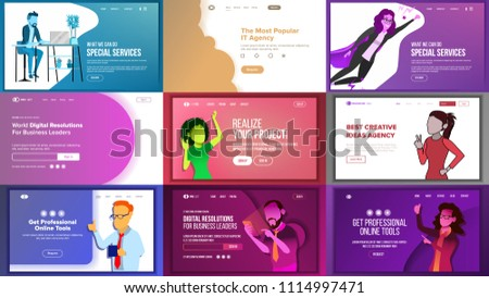 Main Web Page Set Design Vector. Website Business Graphic. Landing Template. Future Energy Project. Card Credit. Business Coworking. Increase Experience. Illustration