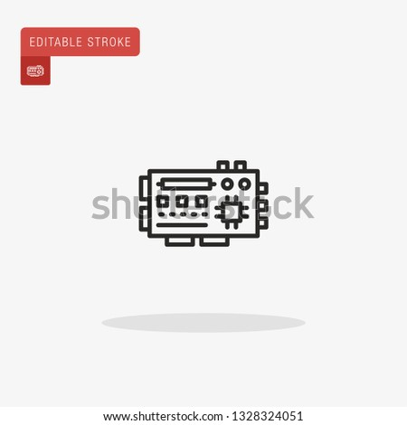 Mainboard Simple vector icon. Illustration symbol design template for web mobile UI element. Perfect color modern pictogram on editable stroke. Mainboard icons for your business project