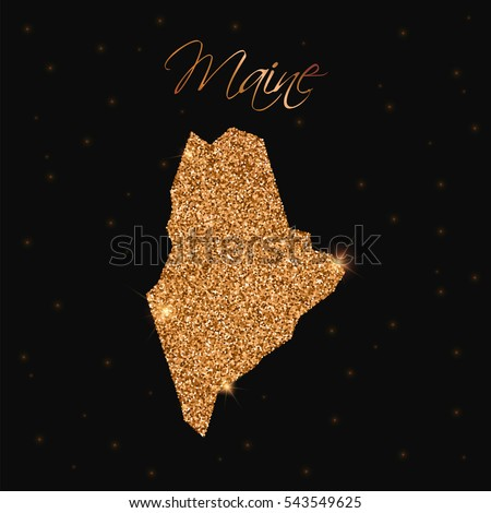 Maine map filled with golden glitter. Luxurious golden glitter map of Maine with golden glitter texture, sparkles and stars. Vector illustration.