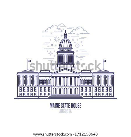 Maine State House located in the city of Augusta. The state capitol building and government of U.S. state Maine . The great example of Federal architecture style. City sight linear vector icon