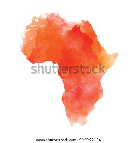 Mainland Africa on a black background. Vector illustration. Textured vector map of Africa. Tribal background. Abstract Background with Watercolor Stains. Vector illustration.
