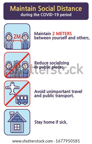 Maintain Social Distance during the COVID-19 period. Colored vector illustrations set.