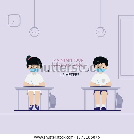 Maintain social distance in classroom at school vector. School children in classroom wearing face masks. New normal lifestyle at school. students wearing face masks to protect from the coronavirus (covid-19)
