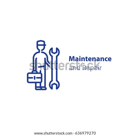 Maintenance and repair services, repairman with spanner and case, installation worker, technical engineer, vector mono line icon
