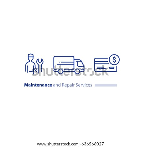 Maintenance and repair services, repairman with spanner, installation worker, technical engineer, delivery truck, credit card payment vector mono line icon