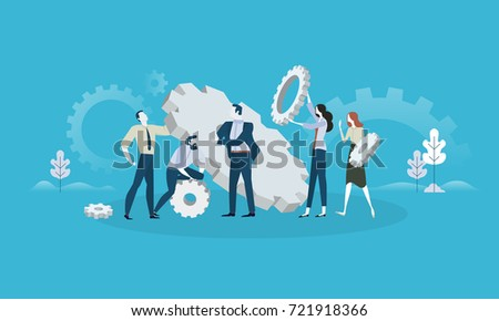 Maintenance. Flat design business people concept for product development, service, engineering. Vector illustration concept for web banner, business presentation, advertising material.