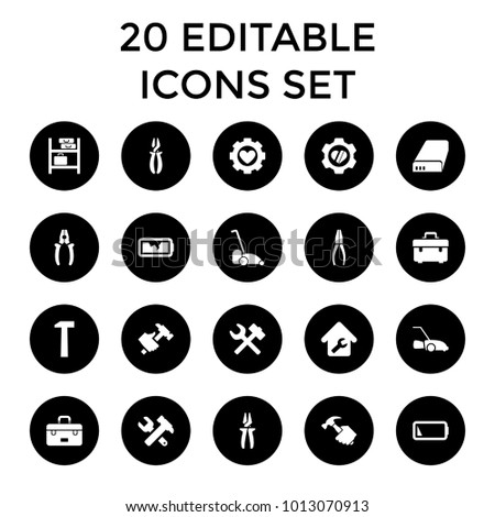 Maintenance icons. set of 20 editable filled maintenance icons such as toolbox, hummer and wrench, pliers, hummer. best quality maintenance elements in trendy style.
