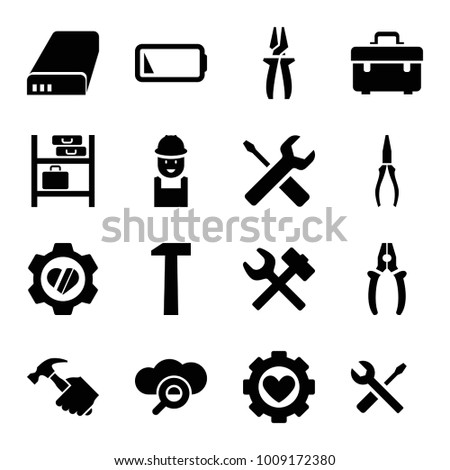 Maintenance icons. set of 16 editable filled maintenance icons such as toolbox, worker, pliers, wrench and screwdriver, wrench hummer, heart in gear, search cloud, battery