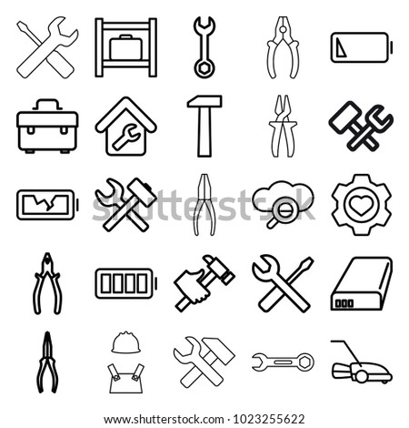 Maintenance icons. set of 25 editable outline maintenance icons such as luggage storage, toolbox, wrench, pliers, hummer, wrench and screwdriver, lawn mower, heart in gear