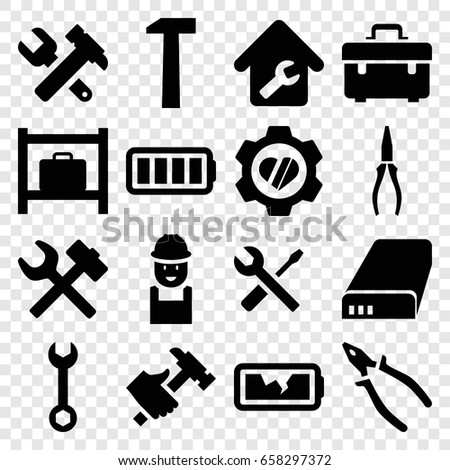 Maintenance icons set. set of 16 maintenance filled icons such as luggage storage, toolbox, wrench, worker, hummer and wrench, pliers, hummer, heart in gear, battery