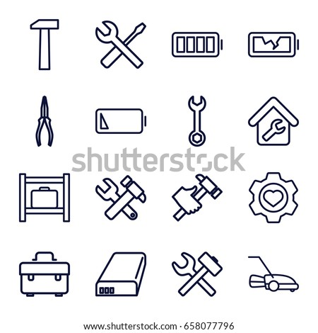 Maintenance icons set. set of 16 maintenance outline icons such as luggage storage, toolbox, wrench, hummer and wrench, pliers, hummer, lawn mower, heart in gear, battery
