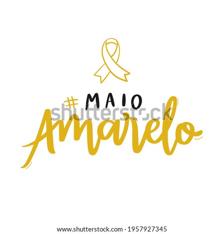 Maio Amarelo. Yellow May. traffic accident prevention month. Brazilian Portuguese Hand Lettering Calligraphy with ribbon draw. Vector.