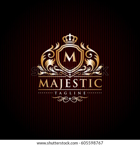 Shutterstock Majestic Brand Logo / Initial Letter Crest / Crown Royal Emblem Vector Template