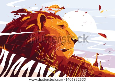 majestic lion on safari vector