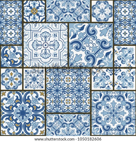 majolica pottery tile  blue and