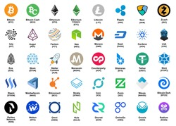 major crypto currency (bitcoin,altcoin etc.) color logo icon set.