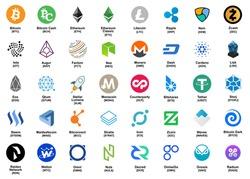 major crypto currency (bitcoin,altcoin etc.) color logo icon set.