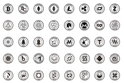 major crypto currency (bitcoin,altcoin etc.) icon set