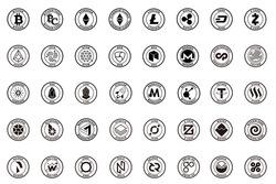 major crypto currency (bitcoin,altcoin etc.) icon set