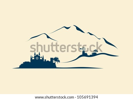 Majorca with stylized silhouette of Palma