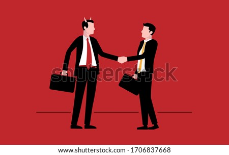Make a deal with the devil - Devil lawyer and businessman shaking hands. Dangerous manager, bad deal and evil business concept. Vector illustration.