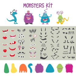 Make a monster icons set, with alient eyes, mouths, horns, wings and hand body parts. Vector illustration