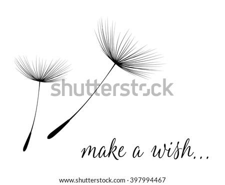 Make a wish card with dandelion fluff. Vector illustration