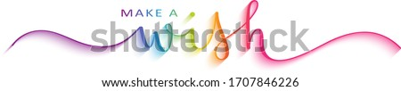 MAKE A WISH colorful vector brush calligraphy banner with swashes Stock photo ©