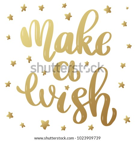 Make a wish. Lettering phrase in golden style isolated on white background. Design element for poster, banner, card. Vector illustration