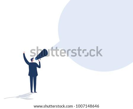Make an announcement. Message business people conceptvector flat design illustration background.Businessman communicates through a megaphone.