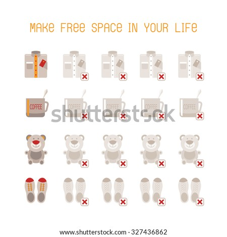 Make free space in your life vector concept in flat style