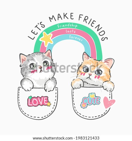 make friends slogan with cartoon cats couple in pockets vector illustration Photo stock ©