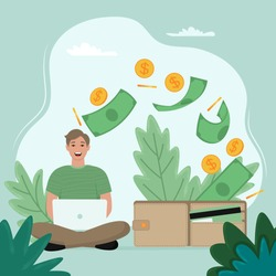 Make money online concept. Man with laptop work. Vector illustration in flat style