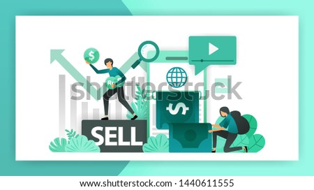 Make money online. Mobile banking increase profits in business, investment by selling shares and making a business. vector illustration concept for landing page ui web mobile app poster banner flyer