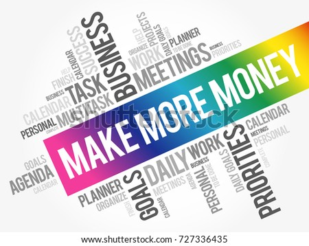 Make More Money word cloud collage, business concept background