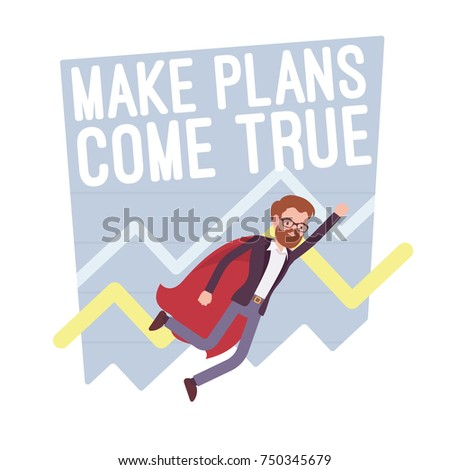 Make plans come true. Superhero manager motivate to increase capital, targets and goals to be achieved, successful growth strategy. Vector flat style cartoon illustration isolated on white background