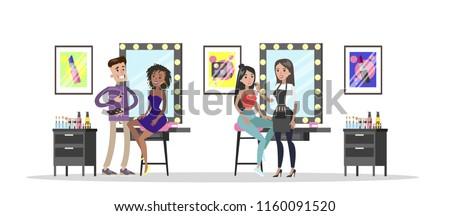 Make up artist applying cosmetics on model face using brushes. Beauty salon interior. Beauty procedures. Vector flat illustration