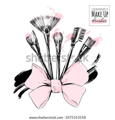 Make up brushes for cosmetics with pink powder vector set. Hand drawn fashion illustration in black ink style. Beautiful realistic design for sale banner, poster, invitation card.