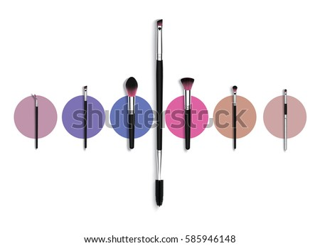 Make-up brushes set, with colorful circles on background