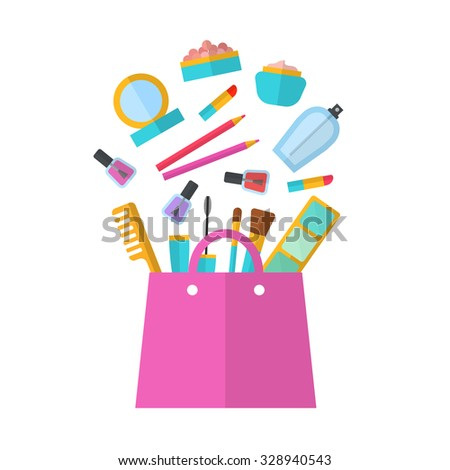 Make up concept vector flat illustration with lipstick, comb, brush, palette, perfume, nail Polish in women's purse. Beauty design isolated on white background. Make-up artist objects. Cosmetic bag.