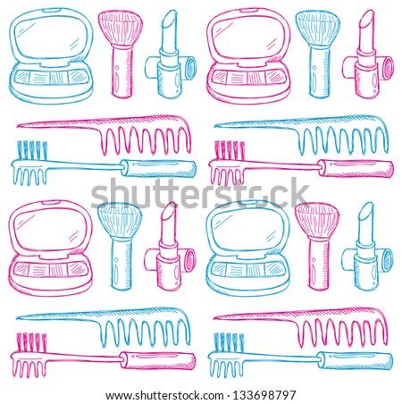 make up kit seamless pattern