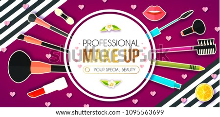 Make Up Paper Art Background. Cosmetics and Fashion Promotion Template. Lippstick, Bruches, Nail Polish, Eye Shadow Palettes, Perfume, Mascara, Heart Balloon, Flowers and so on. Vector illustration